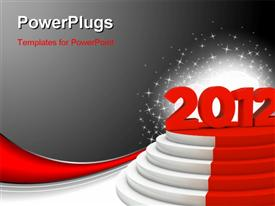 PowerPoint template displaying new year 2012 podium