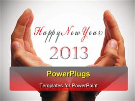 Happy new year with hands forming a cup powerpoint template