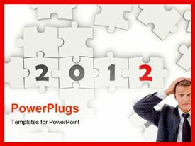 PowerPoint template displaying 2012 New Year sing on puzzle on white