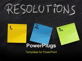 PowerPoint template displaying list of resolutions on blackboard with three blank numbered sticky notes