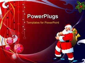 PowerPoint template displaying a Christmas related background with a Santa