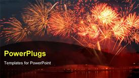 PowerPoint template displaying lots of sparkling bright fireworks on an evening sky