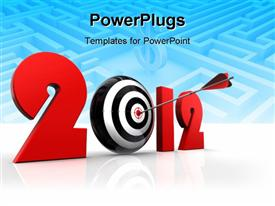 PowerPoint template displaying a dartboard in the background with bluish background