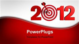 PowerPoint template displaying next New Year 2012 whit a red and target and dart - business concept