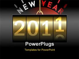 PowerPoint template displaying golf chain holdingtime counter turning fromyear 2010 to 2011