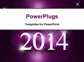 PowerPoint template displaying new year concept made of 3D spheres in the background.