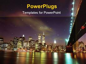 PowerPoint template displaying landscape view of new York city showing lots of lights and the sea