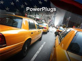PowerPoint template displaying lots of yellow colored cabs moving on a tarred road