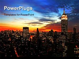 PowerPoint template displaying new York City midtown skyline at dark in the background.