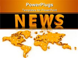 PowerPoint template displaying three dimensional gold map dotted with white figures below word News