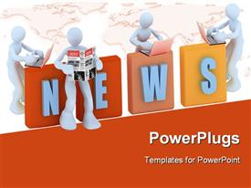 PowerPoint template displaying 3D men leaning towards 3D NEWS reading from newspaper and laptop