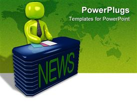 PowerPoint template displaying a newscaster siting behind his desk ready to read the news