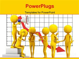 PowerPoint template displaying six personages. 3D depiction in the background.