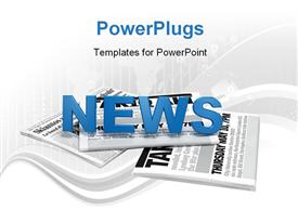 PowerPoint template displaying text news on newspaper digital artwork