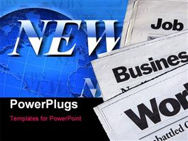 PowerPoint template displaying a number of newspapers with bluish background