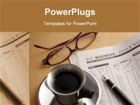 PowerPoint template displaying beautiful depiction coffee newspaper office table
