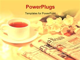 PowerPoint template displaying a lot of newspapers and a cup of tea