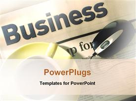 PowerPoint template displaying the word business with a mouse and a cup