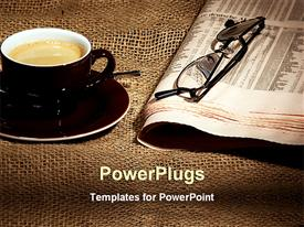 PowerPoint template displaying cup of coffee on saucer and newspaper with eyeglasses on rustic tablecloth