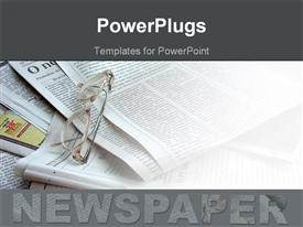 PowerPoint template displaying newspapers in the background white glasses being placed over them