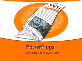PowerPoint template displaying a beautiful depiction  of a newspaper with orange background