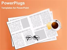 PowerPoint template displaying a number of papers with glasses on top