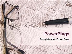 PowerPoint template displaying open newspaper with pen and eyeglasses, job searching newspaper