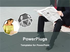 PowerPoint template displaying man sitting reading newspaper lady