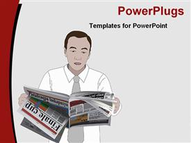 PowerPoint template displaying man dressed in formal attire goes through pages of newspaper