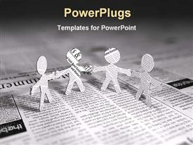 PowerPoint template displaying four paper men standing on page of newspaper join hands