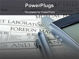 PowerPoint template displaying investing theme with newspaper, cell phone and pen, stock market