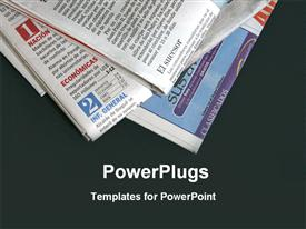 PowerPoint template displaying stack of newspapers on black background