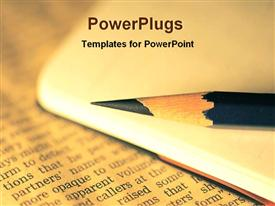 PowerPoint template displaying a lead pencil present in front of a newspaper with blurred background