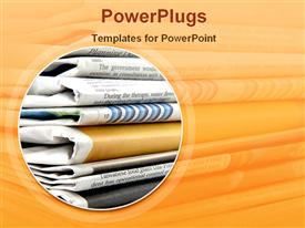 PowerPoint template displaying sack of folded news papers with an orange background