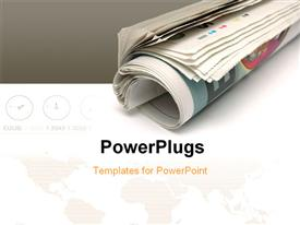 PowerPoint template displaying roll of newspaper