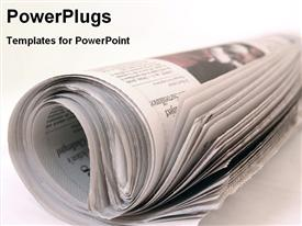 PowerPoint template displaying rolled newspaper on plain white desk