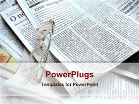 PowerPoint template displaying spectacles several sheets news paper
