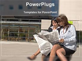 PowerPoint template displaying two business women sitting on a bench in front of building reading newspapers