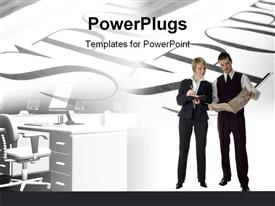 PowerPoint template displaying a professional male and female with words in the background