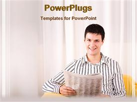 PowerPoint template displaying man smiling holding up newspaper white background