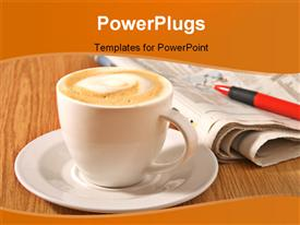 Newspaper coffee and pan on wood table presentation background