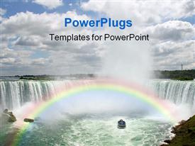PowerPoint template displaying day time view of Niagara falls with a rainbow