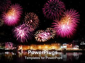 Fireworks night over city with calm water reflection powerpoint theme