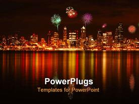 PowerPoint template displaying view of a city with fireworks and a river