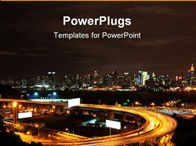 PowerPoint template displaying new York City NYC skyline at night with highway, advertising billboards