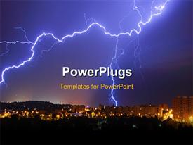 PowerPoint template displaying a lightning thunder with skyscrapers in the background