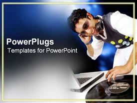 PowerPoint template displaying dJ spins in a nightclub in the background.