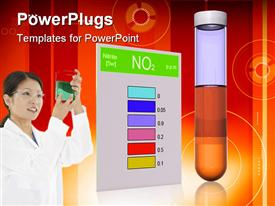 PowerPoint template displaying scientist in white lab coat and safety goggles examining container of fluid next to color chart and test tube