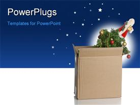 PowerPoint template displaying christmas tree packed up in a box - no Christmas this year