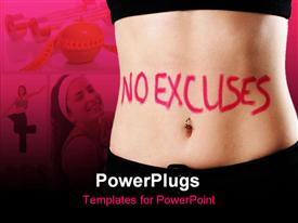 PowerPoint template displaying weight loss metaphor with No Excuses written on flat stomach, exercise, apple with measuring tape, dumbbells, fitness, dieting